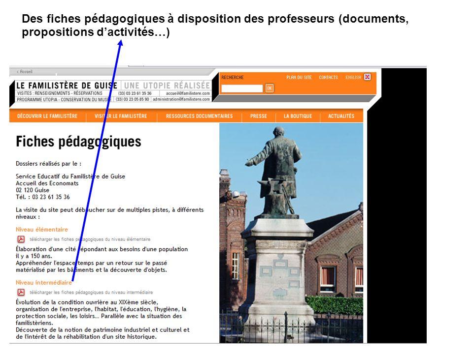 Des fiches pédagogiques à disposition des professeurs (documents, propositions d'activités…)