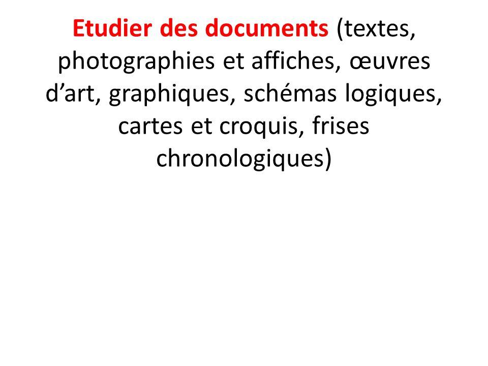 Etudier des documents (textes, photographies et affiches, œuvres d'art, graphiques, schémas logiques, cartes et croquis, frises chronologiques)