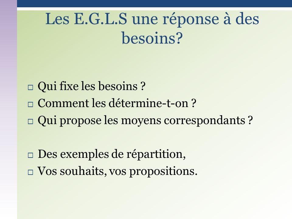 Les E.G.L.S une réponse à des besoins