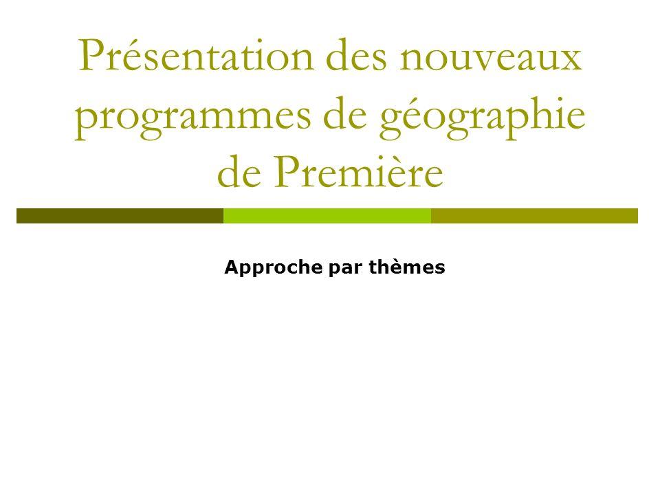Présentation des nouveaux programmes de géographie de Première