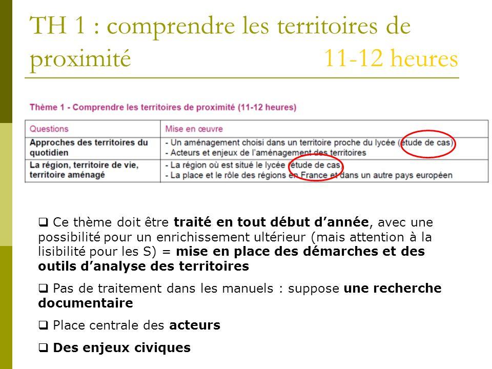 TH 1 : comprendre les territoires de proximité 11-12 heures