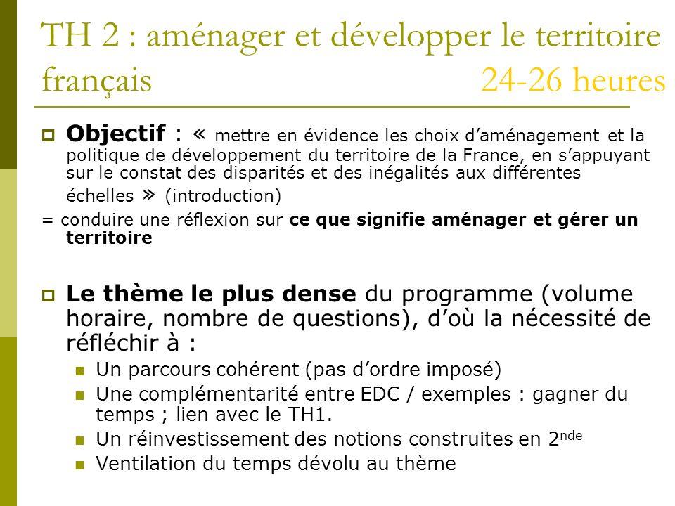 TH 2 : aménager et développer le territoire français 24-26 heures