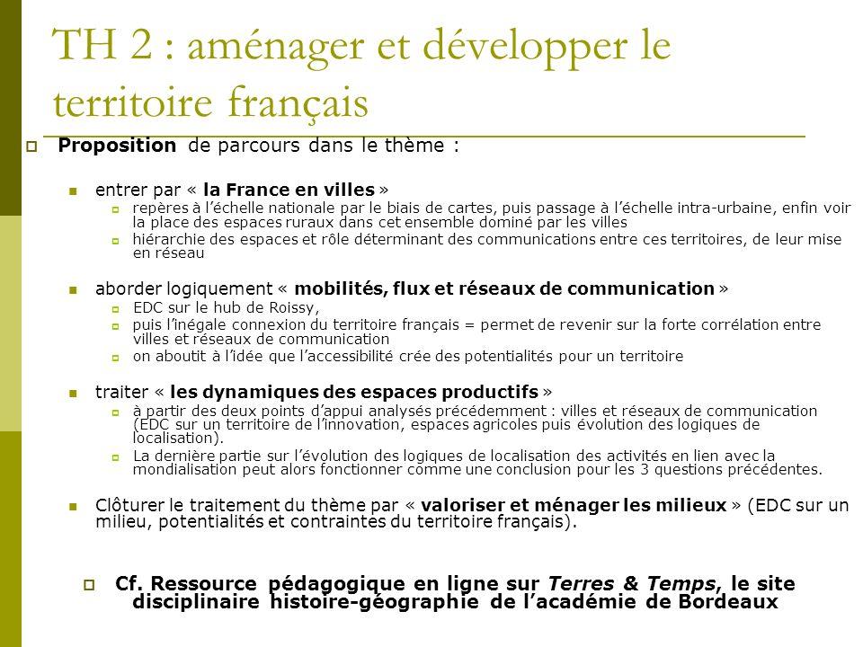 TH 2 : aménager et développer le territoire français