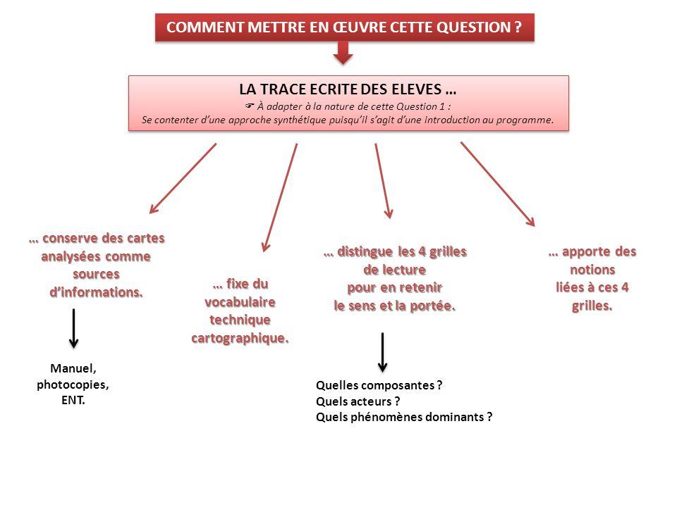 COMMENT METTRE EN ŒUVRE CETTE QUESTION LA TRACE ECRITE DES ELEVES …