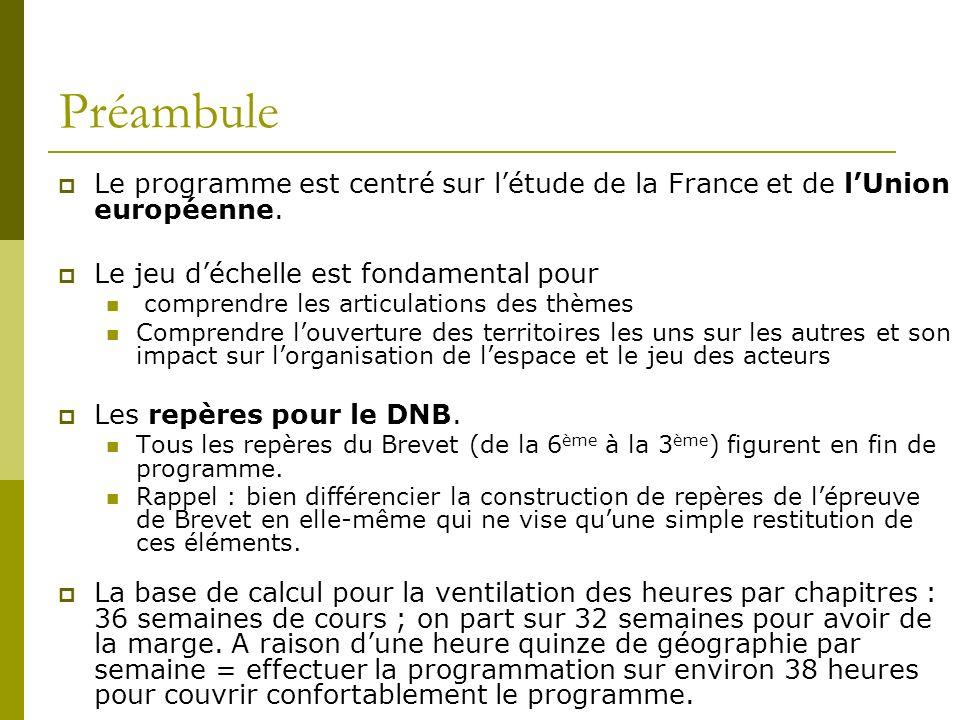 Préambule Le programme est centré sur l'étude de la France et de l'Union européenne. Le jeu d'échelle est fondamental pour.