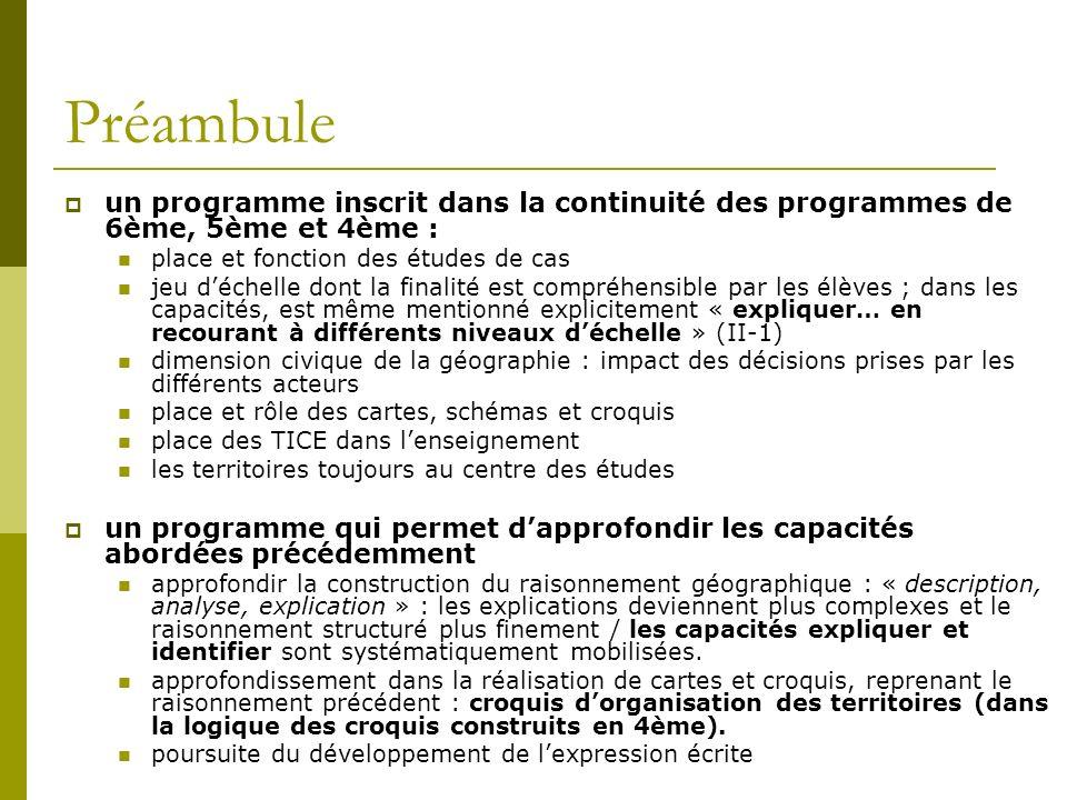 Préambuleun programme inscrit dans la continuité des programmes de 6ème, 5ème et 4ème : place et fonction des études de cas.