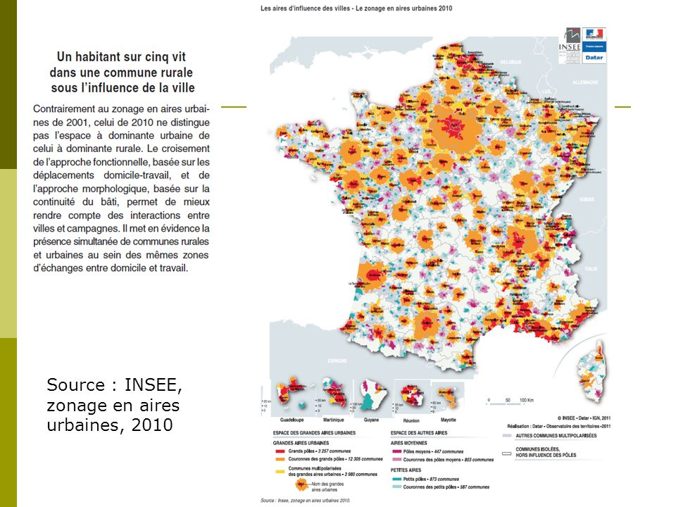 Source : INSEE, zonage en aires urbaines, 2010