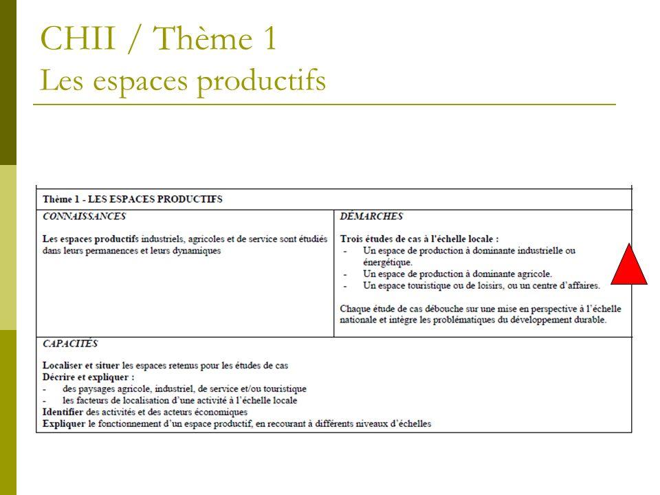 CHII / Thème 1 Les espaces productifs
