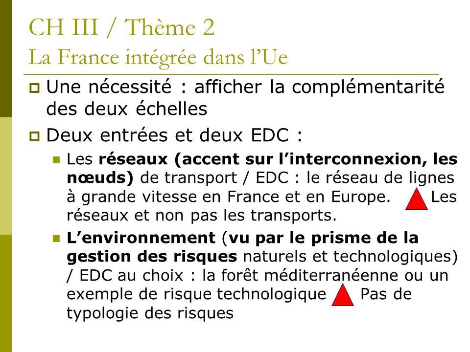 CH III / Thème 2 La France intégrée dans l'Ue