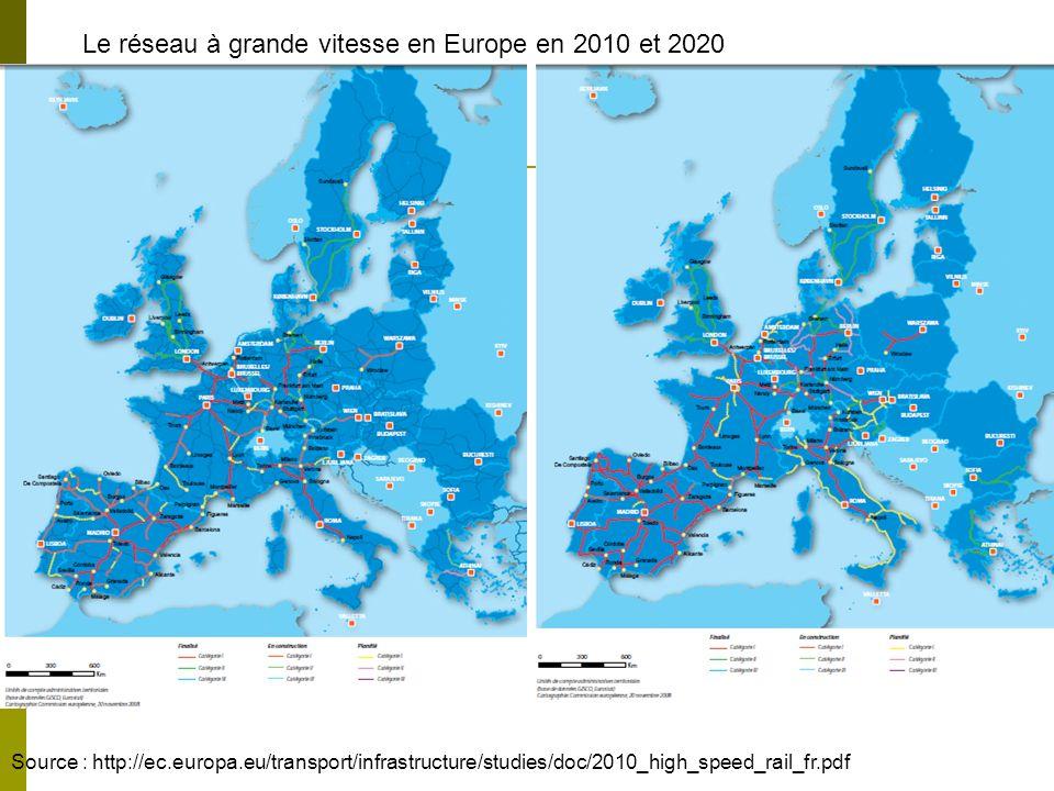 Le réseau à grande vitesse en Europe en 2010 et 2020