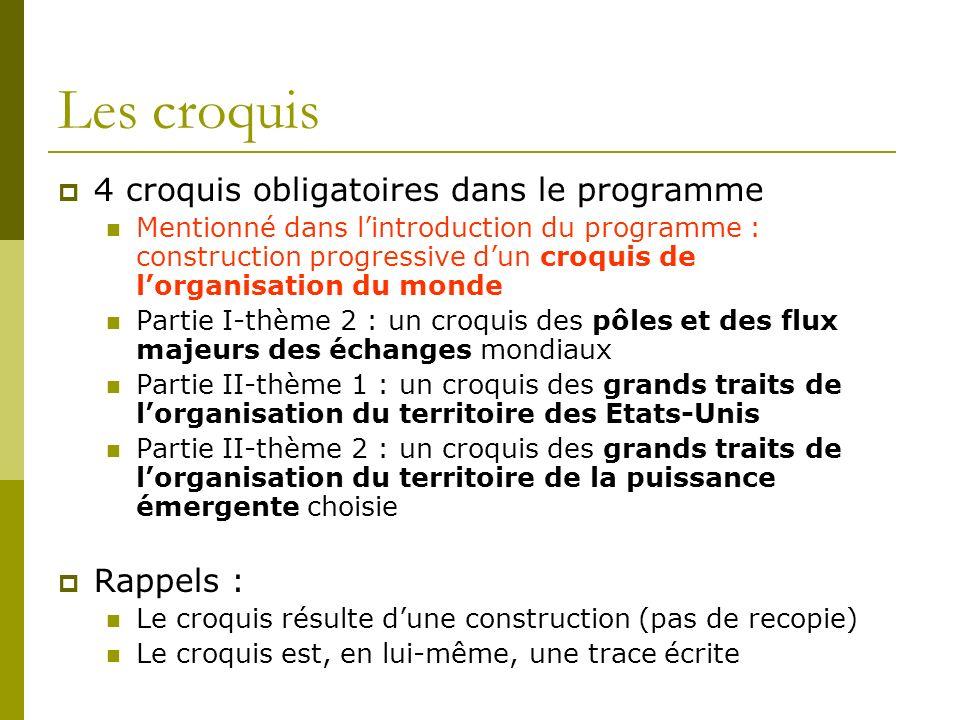 Les croquis 4 croquis obligatoires dans le programme Rappels :