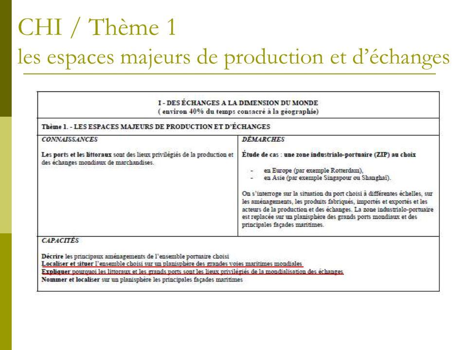 CHI / Thème 1 les espaces majeurs de production et d'échanges