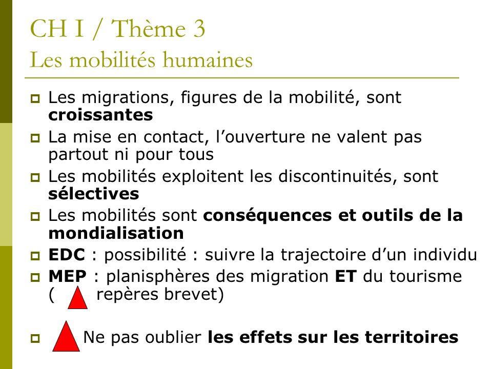 CH I / Thème 3 Les mobilités humaines