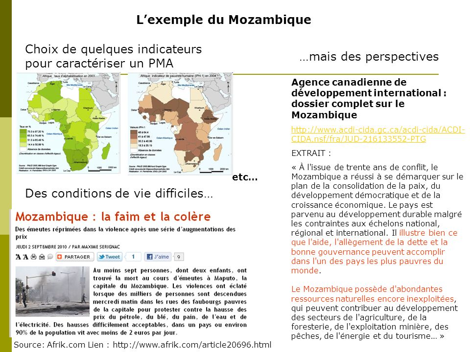 L'exemple du Mozambique