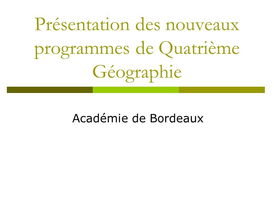 Présentation des nouveaux programmes de Quatrième Géographie