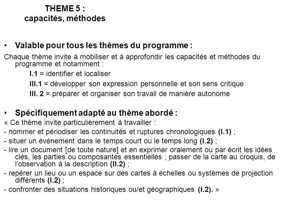 THEME 5 : capacités, méthodes