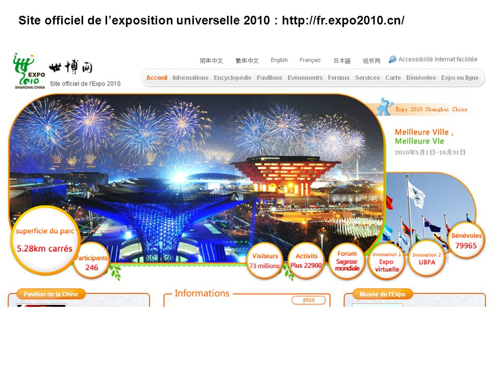 08/10/11 Site officiel de l'exposition universelle 2010 : http://fr.expo2010.cn/