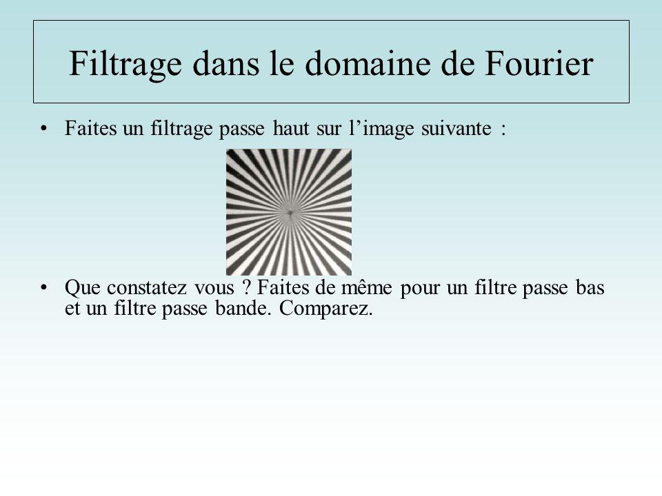 Filtrage dans le domaine de Fourier