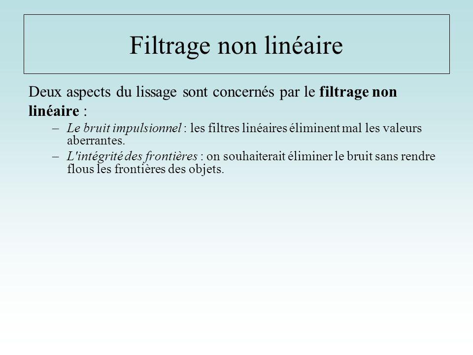 Filtrage non linéaire Deux aspects du lissage sont concernés par le filtrage non. linéaire :