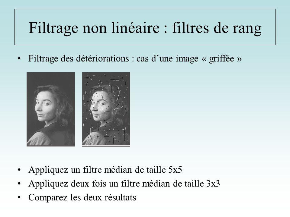 Filtrage non linéaire : filtres de rang