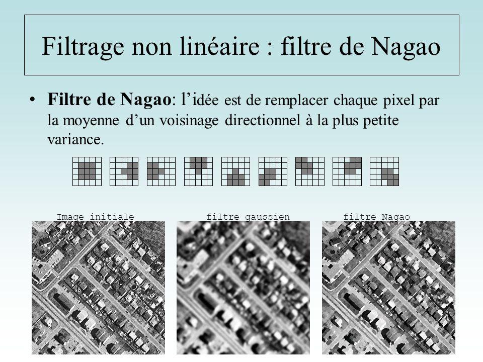 Filtrage non linéaire : filtre de Nagao