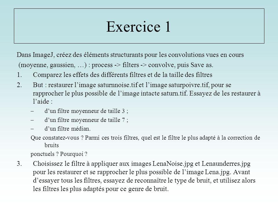 Exercice 1 Dans ImageJ, créez des éléments structurants pour les convolutions vues en cours.