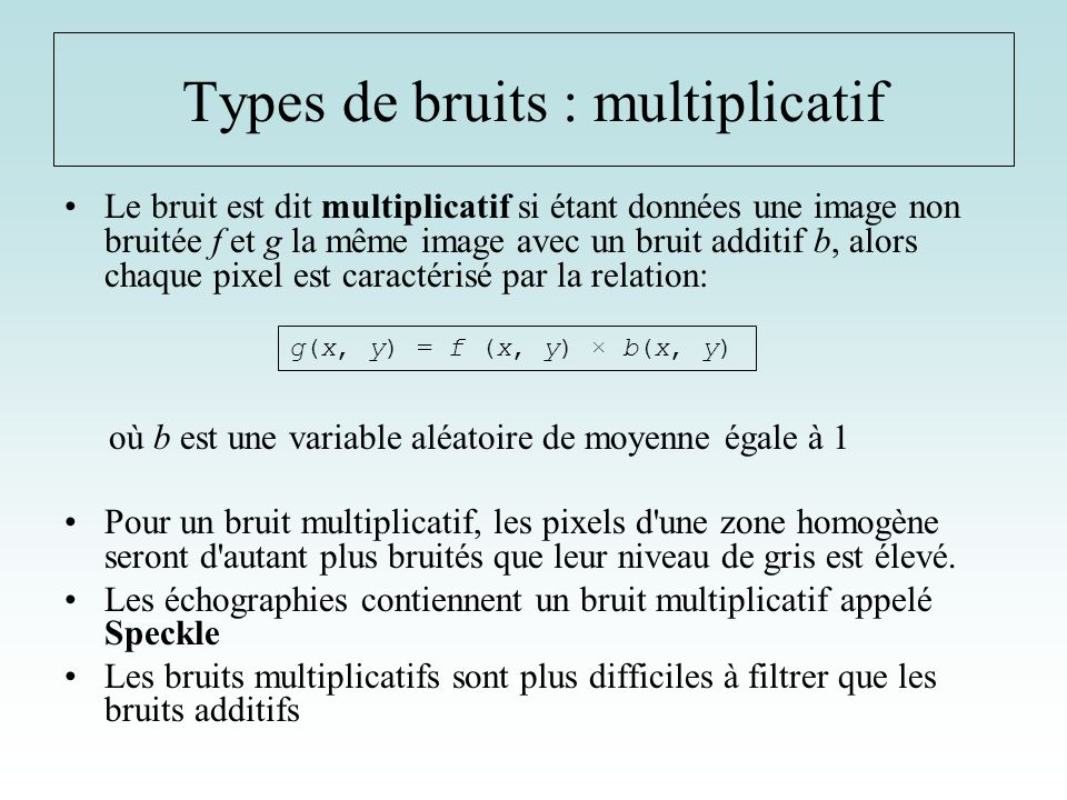 Types de bruits : multiplicatif