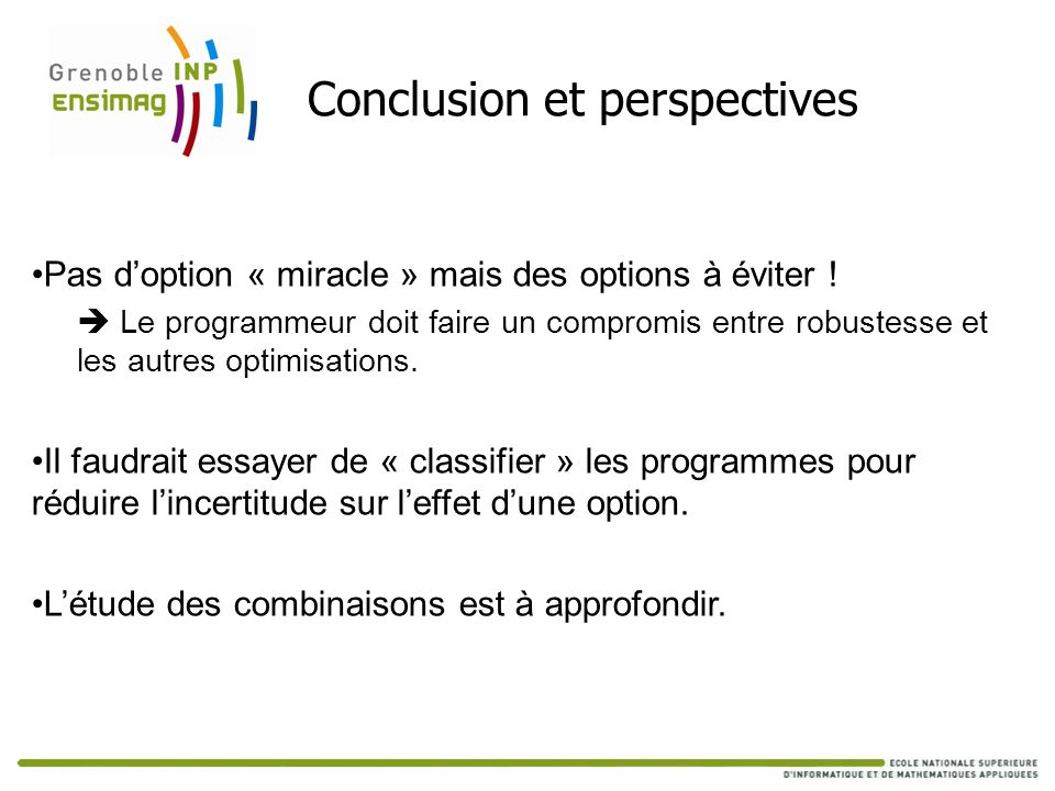 Conclusion et perspectives