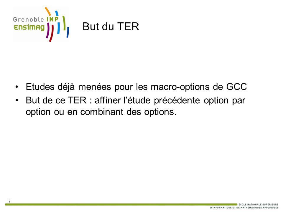 But du TER Etudes déjà menées pour les macro-options de GCC