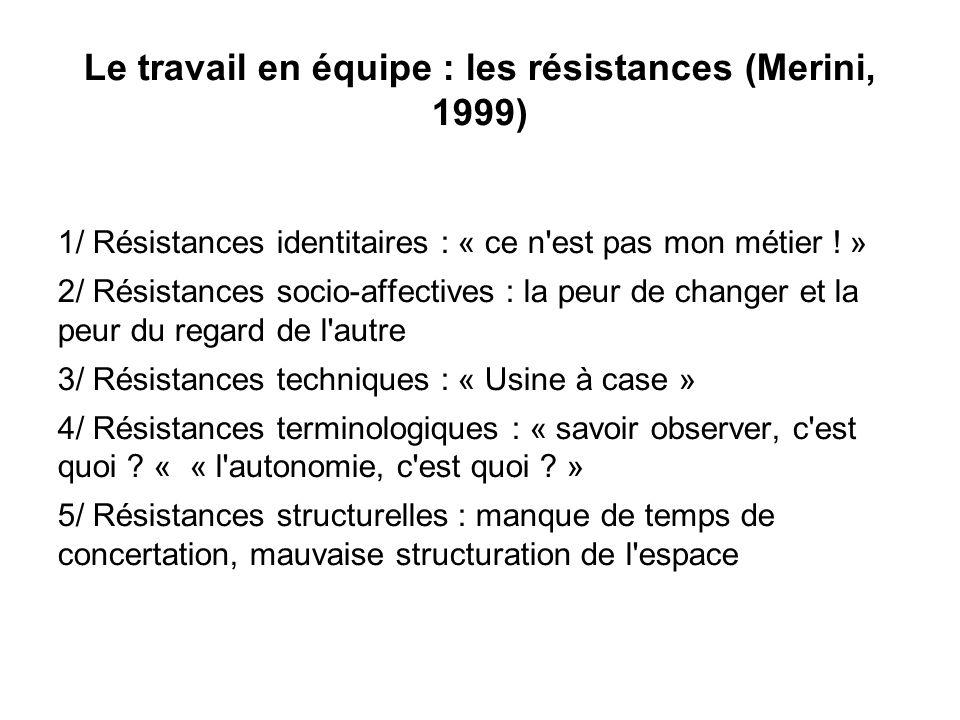 Le travail en équipe : les résistances (Merini, 1999)