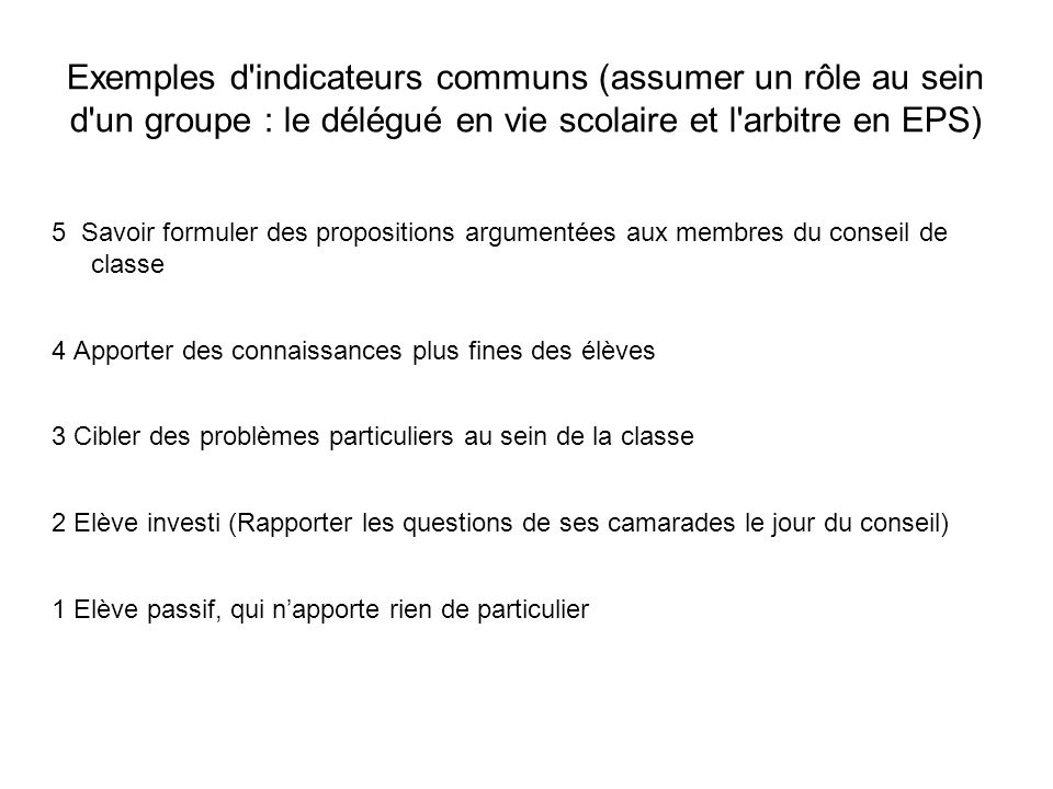 Exemples d indicateurs communs (assumer un rôle au sein d un groupe : le délégué en vie scolaire et l arbitre en EPS)