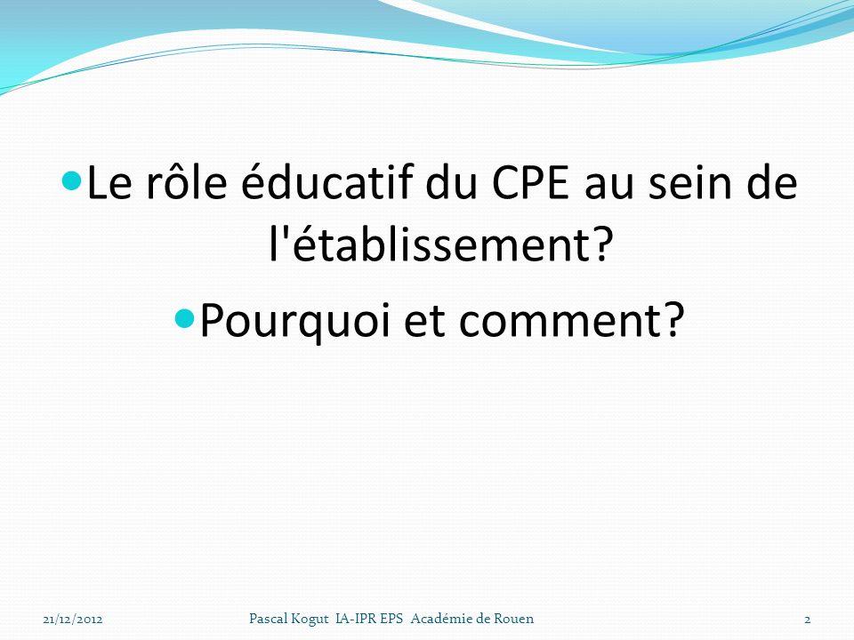 Le rôle éducatif du CPE au sein de l établissement