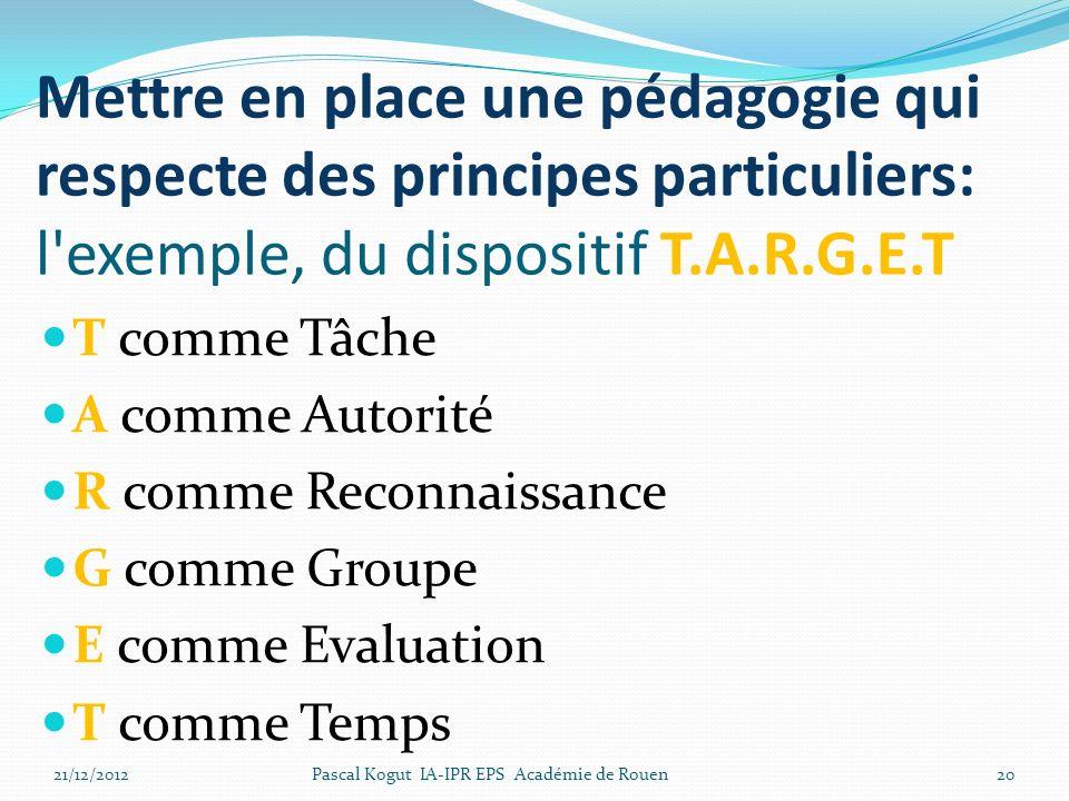 Mettre en place une pédagogie qui respecte des principes particuliers: l exemple, du dispositif T.A.R.G.E.T