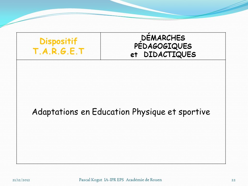 Adaptations en Education Physique et sportive