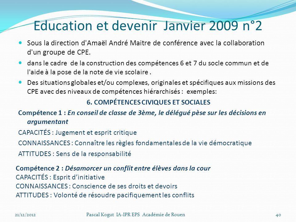 Education et devenir Janvier 2009 n°2