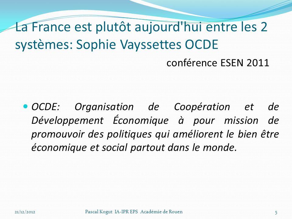 La France est plutôt aujourd hui entre les 2 systèmes: Sophie Vayssettes OCDE conférence ESEN 2011