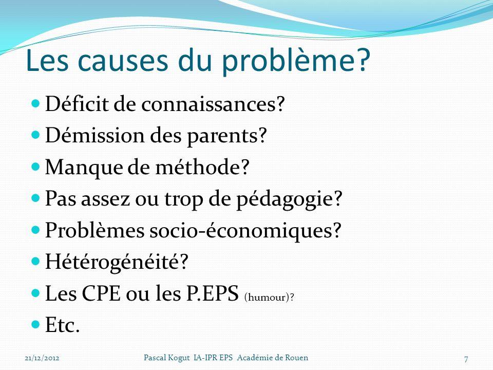 Les causes du problème Déficit de connaissances