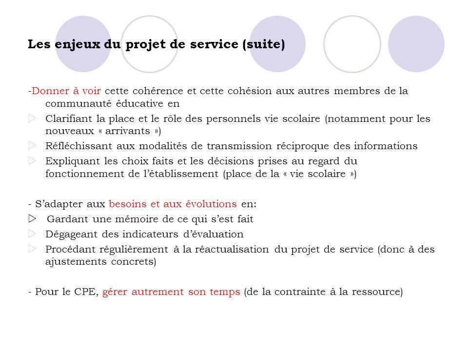 Les enjeux du projet de service (suite)