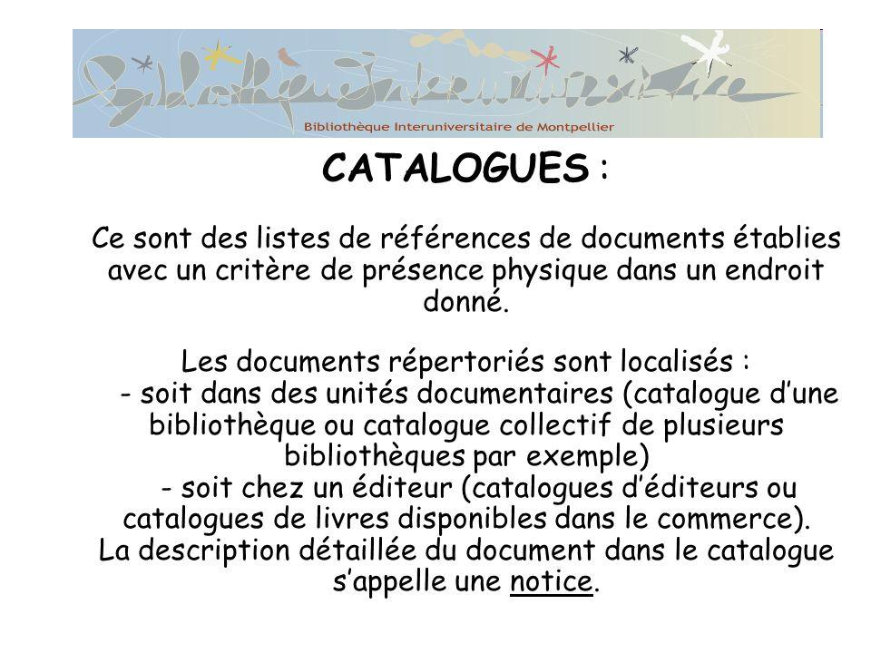 CATALOGUES : Les différents types de documents