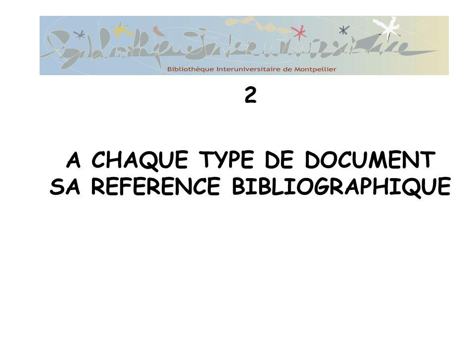 A CHAQUE TYPE DE DOCUMENT SA REFERENCE BIBLIOGRAPHIQUE