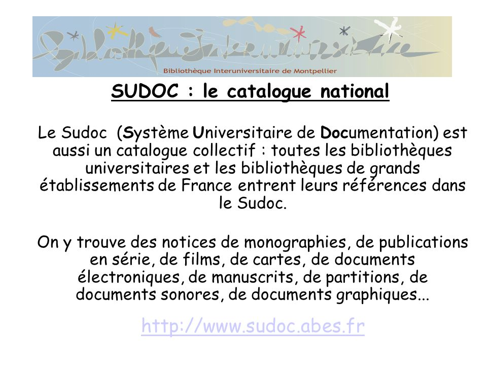 SUDOC : le catalogue national