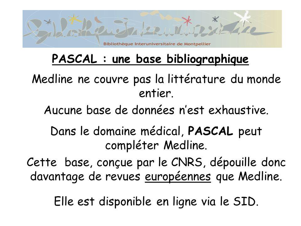 PASCAL : une base bibliographique