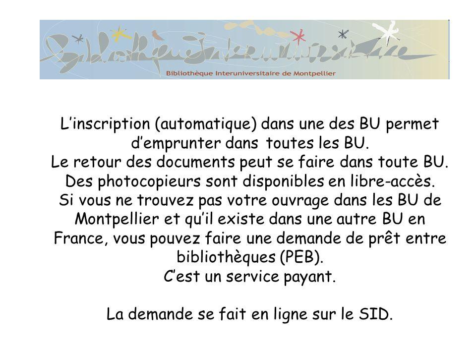 L'inscription (automatique) dans une des BU permet d'emprunter dans toutes les BU.