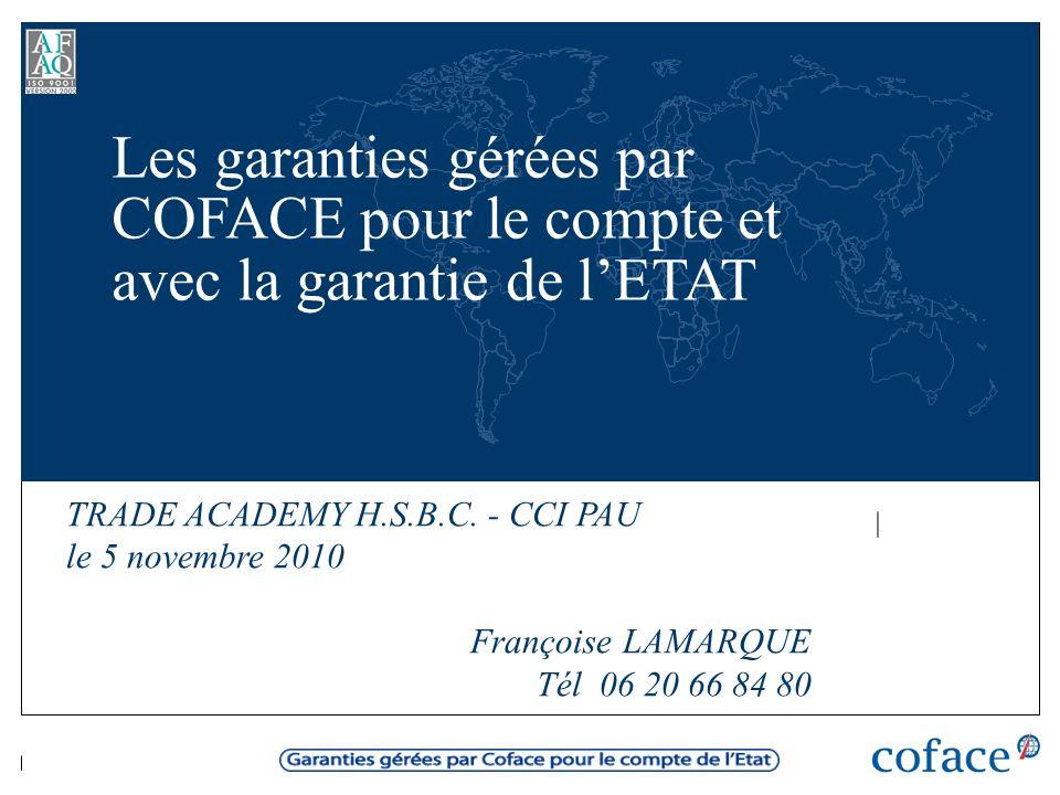 Les garanties gérées par COFACE pour le compte et avec la garantie de l'ETAT