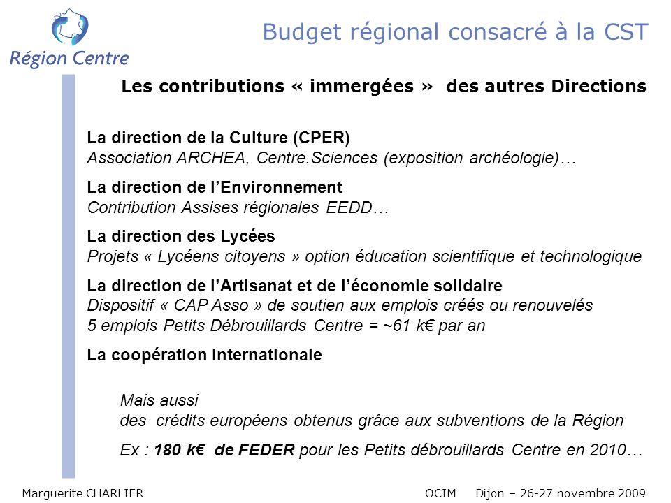 Budget régional consacré à la CST