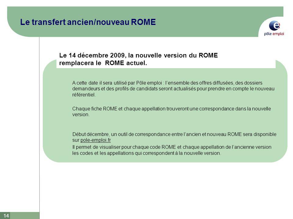 Le transfert ancien/nouveau ROME