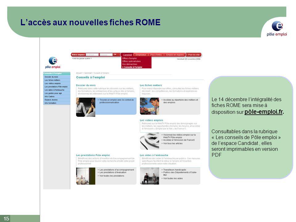 L'accès aux nouvelles fiches ROME