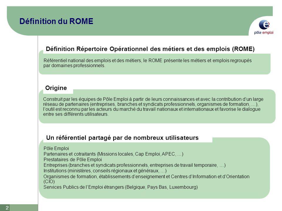 Définition du ROME Définition Répertoire Opérationnel des métiers et des emplois (ROME)