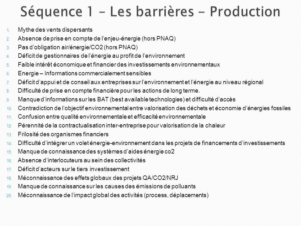 Séquence 1 – Les barrières - Production