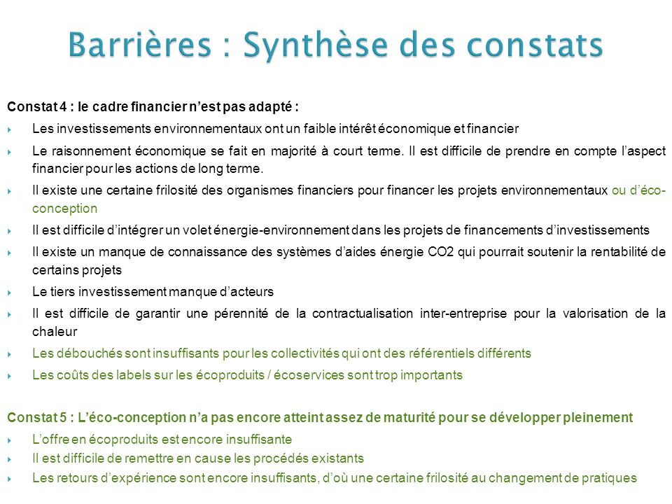 Barrières : Synthèse des constats